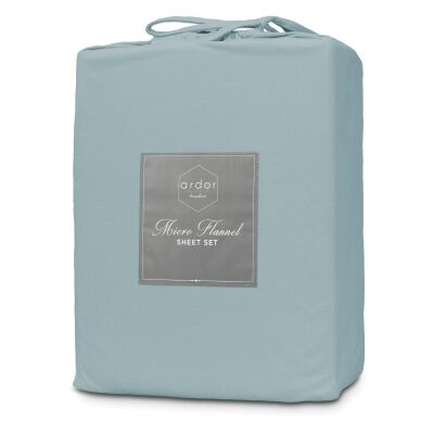 Ardor Boudoir Micro Flannel Bed Sheet Set, Double, Blue