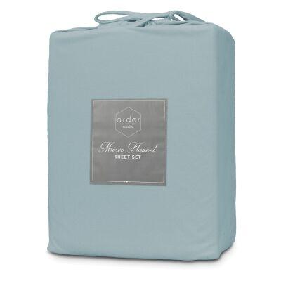 Ardor Boudoir Micro Flannel Bed Sheet Set, Mega Queen, Blue