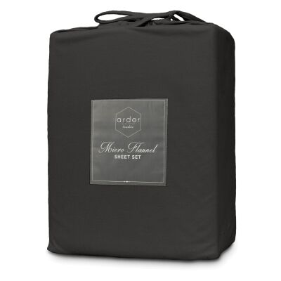 Ardor Boudoir Micro Flannel Bed Sheet Set, Double, Charcoal
