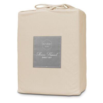 Ardor Boudoir Micro Flannel Bed Sheet Set, Mega King, Latte