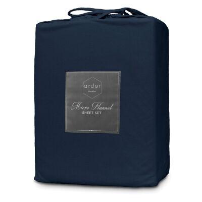 Ardor Boudoir Micro Flannel Bed Sheet Set, Double, Navy