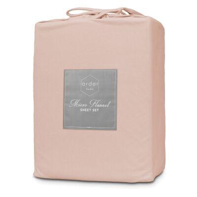 Ardor Boudoir Micro Flannel Bed Sheet Set, King, Dusky Pink