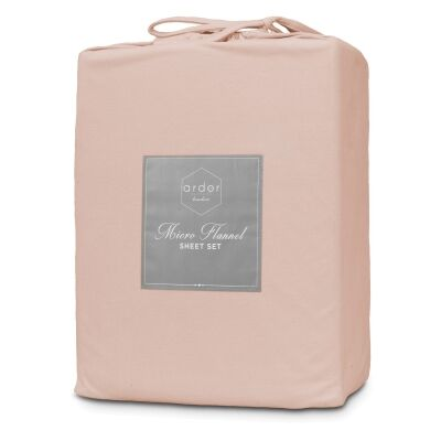 Ardor Boudoir Micro Flannel Bed Sheet Set, Mega Queen, Dusky Pink