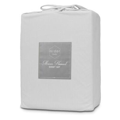 Ardor Boudoir Micro Flannel Bed Sheet Set, Queen, Silver