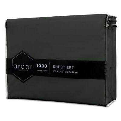 Ardor 1000TC Cotton Sateen Bed Sheet Set, King, Charcoal
