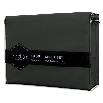 Ardor 1000TC Cotton Sateen Bed Sheet Set, Queen, Charcoal
