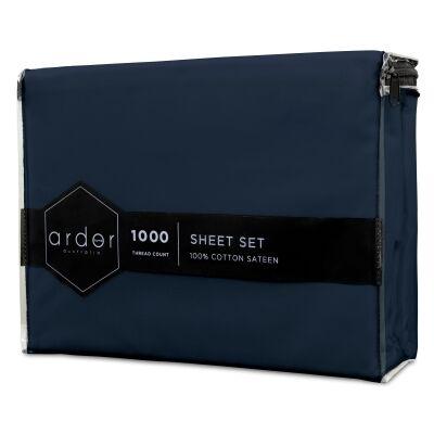 Ardor 1000TC Cotton Sateen Bed Sheet Set, King, Navy