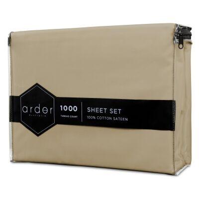 Ardor 1000TC Cotton Sateen Bed Sheet Set, Queen, Stone