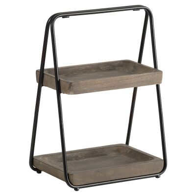 Mercator Wood & Metal 2 Tier Rectangular Tray Stand