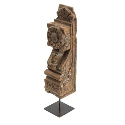 Gujarati Carved Timber Ornament on Metal Stand