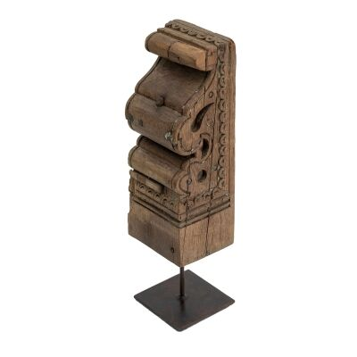 Toda Carved Timber Ornament on Metal Stand
