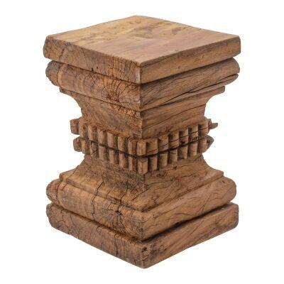 Sardo Carved Timber Pillar Base Stool / Side Table