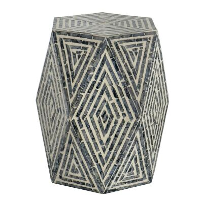 Hetton Capiz Accent Stool / Side Table, Ink Blue