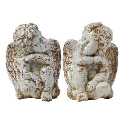 Ellise 2 Piece Ceramic Cherub Figurine Set