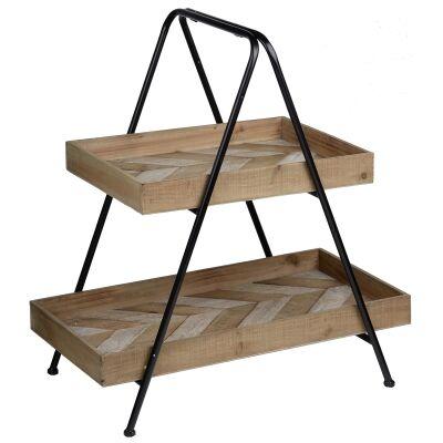 Prescott Fir Timber & Metal 2 Tier Rectangular Tray Stand