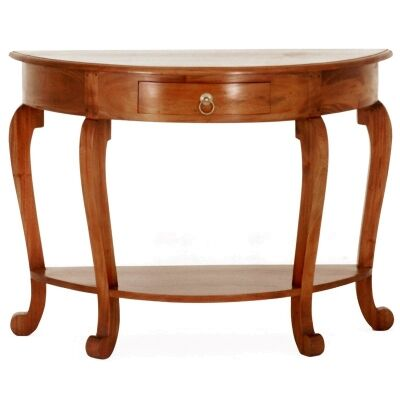 Cabriol Mahogany Timber Half Round Sofa Table, Light Pecan