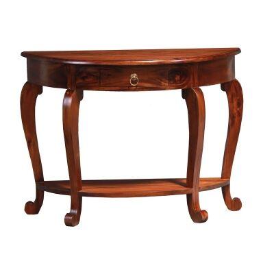 Cabriol Solid Mahogany Timber Half Round Sofa Table, Mahogany