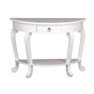 Cabriol Mahogany Timber Half Round Sofa Table, White