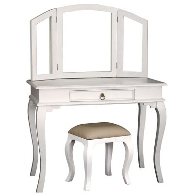 Queen Ann Solid Mahogany Timber Dressing Table with Stool - White