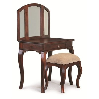 Queen Ann Solid Mahogany Timber Dressing Table with Stool - Mahogany