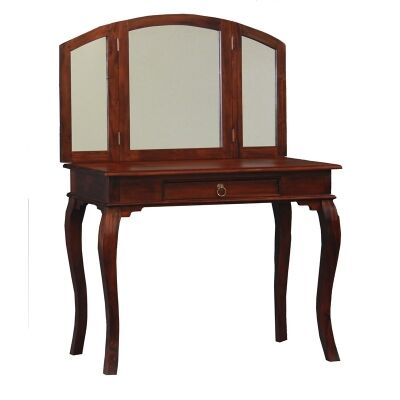 Queen Ann Solid Mahogany Timber Dressing Table - Mahogany