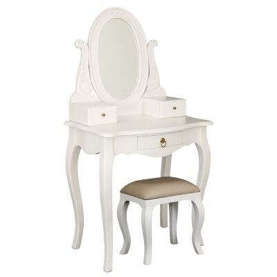 Queen Ann Nouveau Solid Mahogany Timber Dressing Table with Stool - White