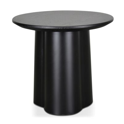 Asarna Timber Top Metal Round Side Table, Black