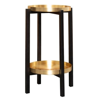 Kay 2 Tier Timber Side Table with Brass Trays, Black