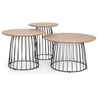 Husby 3 Piece Wood & Metal Round Side Table Set, Natural / Black