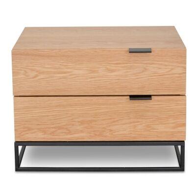 Galleno Wooden 2 Drawer Bedsdie Table, Oak