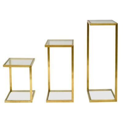 Henty 3 Piece Glass & Metal Side Table Set