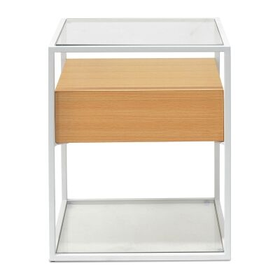 Caveat Square Side Table, White / Beech