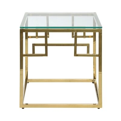 Mackerel Glass & Stainless Steel Square Side Table, Gold