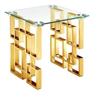 Arzana Glass & Stainless Steel Square Side Table