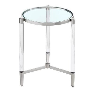 Ciaran Glass & Stainless Steel Round Square Side Table, Silver