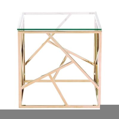 Loiri Glass & Stainless Steel Side Table