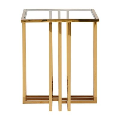 Cervo Glass & Stainless Steel Side Table