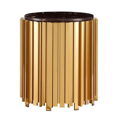 Caresi Marblite & Metal Round Side Table