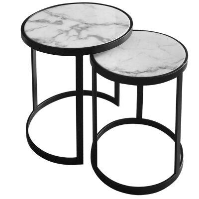 Mirabello 2 Piece Faux Marble Topped Metal Round Nesting Side Table Set, White / Black