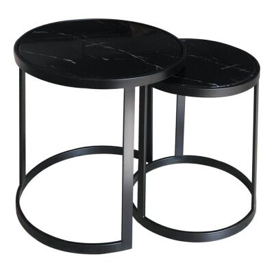 Mirabello 2 Piece Faux Marble Topped Metal Round Nesting Side Table Set, Black