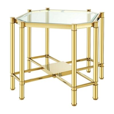 Faro Glass & Stainless Steel Square Side Table