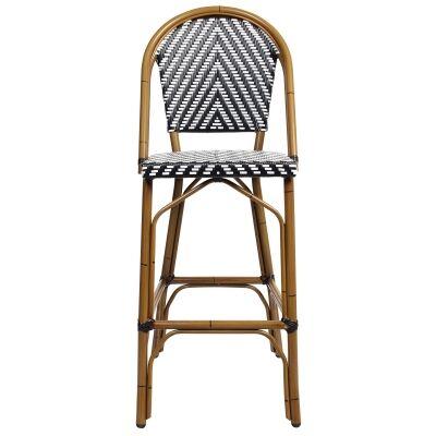 Amalfi Commercial Grade Wicker & Aluminium Indoor / Outdoor Bar Chair, Black