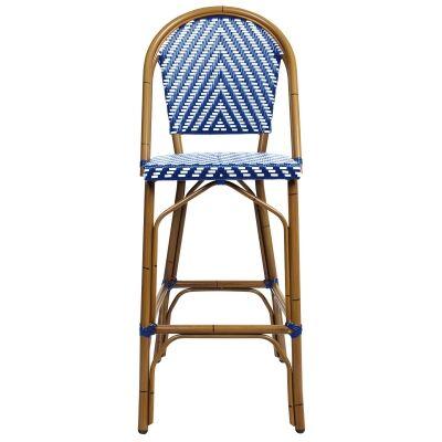 Amalfi Commercial Grade Wicker & Aluminium Indoor / Outdoor Bar Chair, Blue
