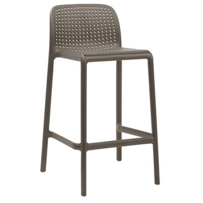 Bora Italian Made Commercial Grade Indoor / Outdoor Counter Stool, Taupe