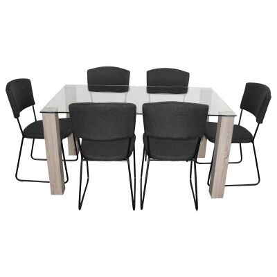 Emilio 7 Piece Glass Top Dining Table Set, 160cm, Black Arezzo Chair