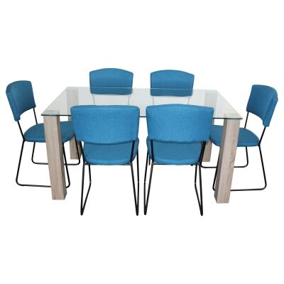Emilio 7 Piece Glass Top Dining Table Set, 160cm, Blue Arezzo Chair