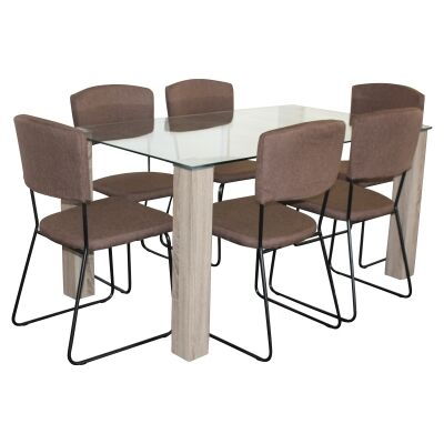 Emilio 7 Piece Glass Top Dining Table Set, 160cm, Brown Arezzo Chair