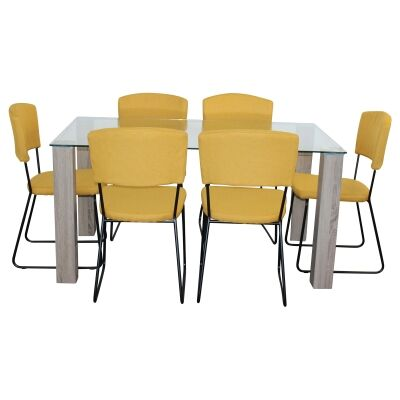 Emilio 7 Piece Glass Top Dining Table Set, 160cm, Yellow Arezzo Chair