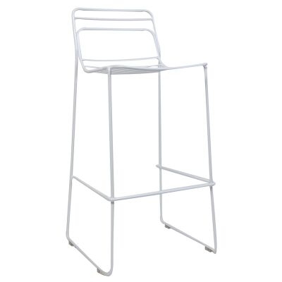 Cage Commercial Grade Steel Stackable Indoor/Outdoor Bar Stool, White