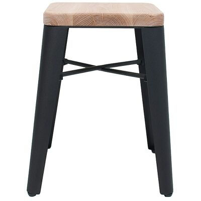 Cognac Commercial Grade Steel Table Stool with Timber Seat, Black